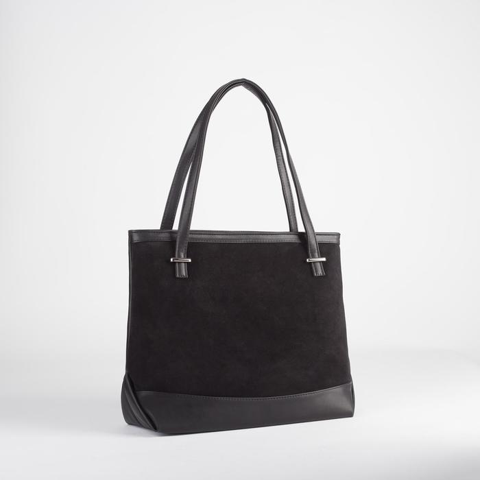 Сумка женская, замша, отдел на молнии, наружный карман, цвет чёрный - фото 53598