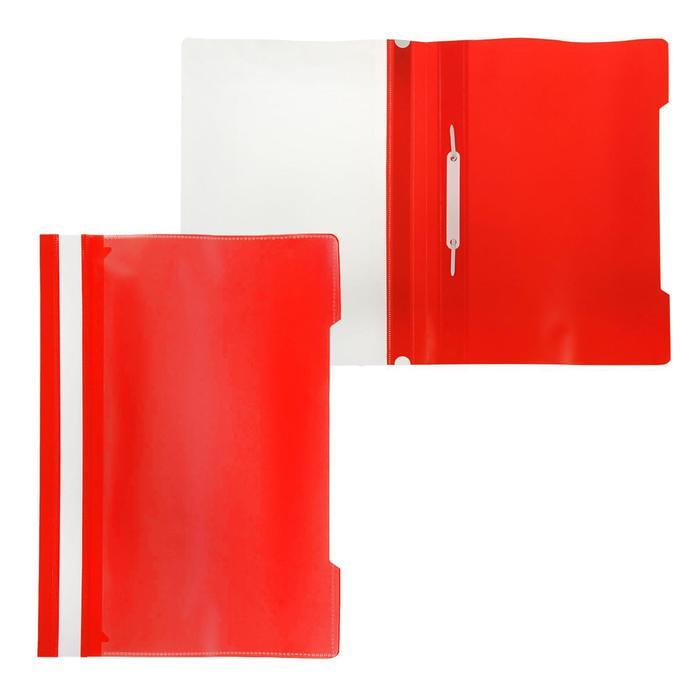 Папка-скоросшиватель А4, с прозрачным карманом на лицевой стороне, красная