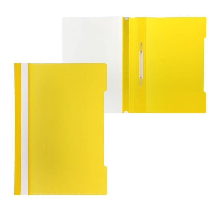 Папка-скоросшиватель А4, с прозрачным карманом на лицевой стороне, желтая