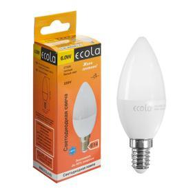 """Лампа светодиодная Ecola """"свеча"""", 6 Вт, Е14, 2700 К, 220 В, 101х37 мм"""