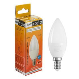 """Лампа светодиодная Ecola """"свеча"""", 8 Вт, Е14, 4000 К, 220 В, 103х37 мм"""