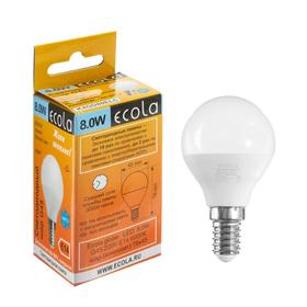 "Лампа светодиодная Ecola globe ""шар"", G45, 8 Вт, Е14, 6000 К, 220 В, 78х45 мм"