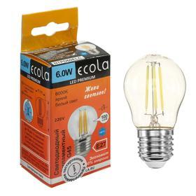 """Лампа светодиодная филаментная Ecola globe Premium """"шар"""", G45, 6 Вт, Е27, 6000 К,360°, 220 В"""