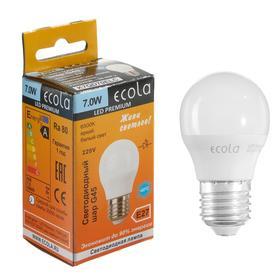"Лампа светодиодная Ecola globe Premium ""шар"", G45, 7 Вт, Е27, 6500 К, 220 В, 75х45 мм"
