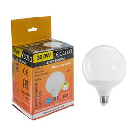 "Лампа светодиодная Ecola globe Premium ""шар"", G120, 30 Вт, Е27, 2700 К, 320°, 220 В, 170х120"