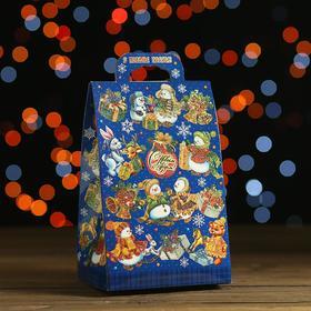 "Новогодний подарок в стиле ""Паттерн Снеговики"" синий, картонная упаковка, 700 г"