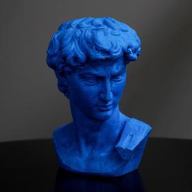 "Plaster Figure ""head of David"" 8 x 12.5, blue"