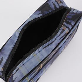 Косметичка дорожная, отдел на молнии, наружный карман, с подкладом, цвет синий - фото 1766184