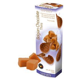 Шоколадные чипсы Belgian Chocolate Thins Caramel Sea Salt, 80 г