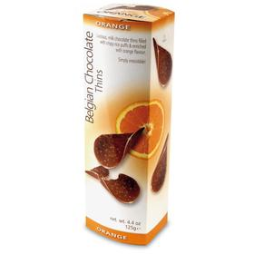Шоколадные чипсы Belgian Chocolate Thins Orange, 80 г