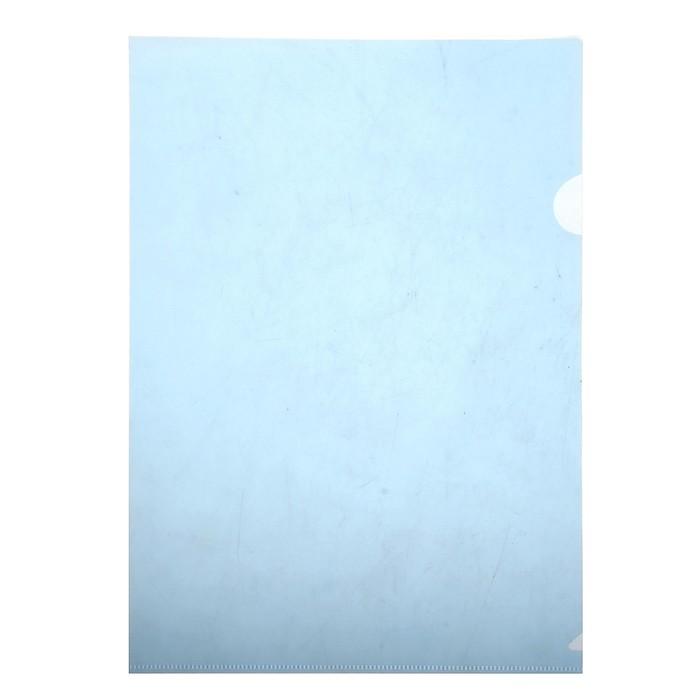 Папка-уголок A4, 100мкм прозрачная, тиснение, синяя