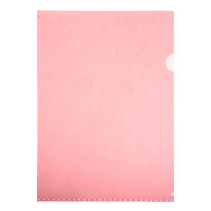 Папка-уголок A4, 100мкм прозрачная, тиснение, красная