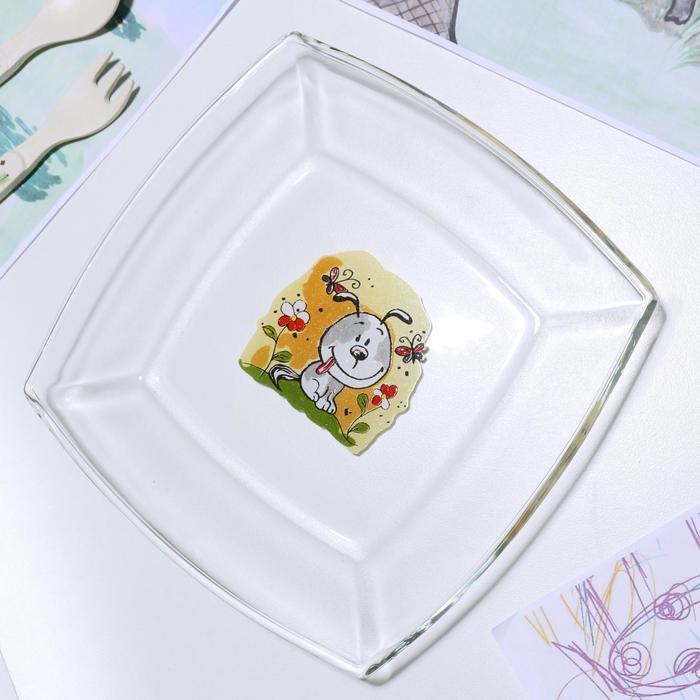 Тарелка «Весёлые зверюшки. Щенок», 19,5×19,5 см - фото 497629
