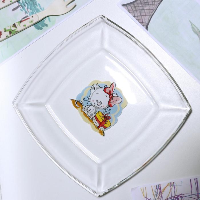 Тарелка «Весёлые зверюшки. Котёнок», 19,5×19,5 см - фото 497631