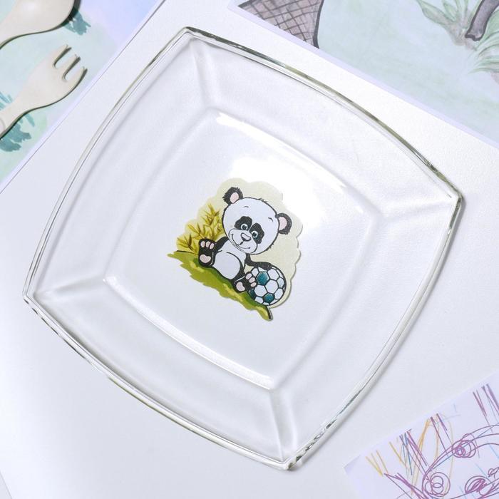 Тарелка «Весёлые зверюшки. Панда», 19,5×19,5 см - фото 497633