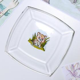 Тарелка «Весёлые зверюшки. Тигрёнок», 19,5×19,5 см