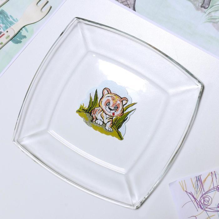 Тарелка «Весёлые зверюшки. Тигрёнок», 19,5×19,5 см - фото 497635