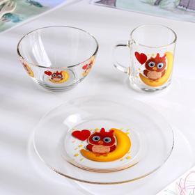 Набор для завтрака «Совушка», 3 предмета: тарелка 20 см, миска 450 мл, кружка 200 мл