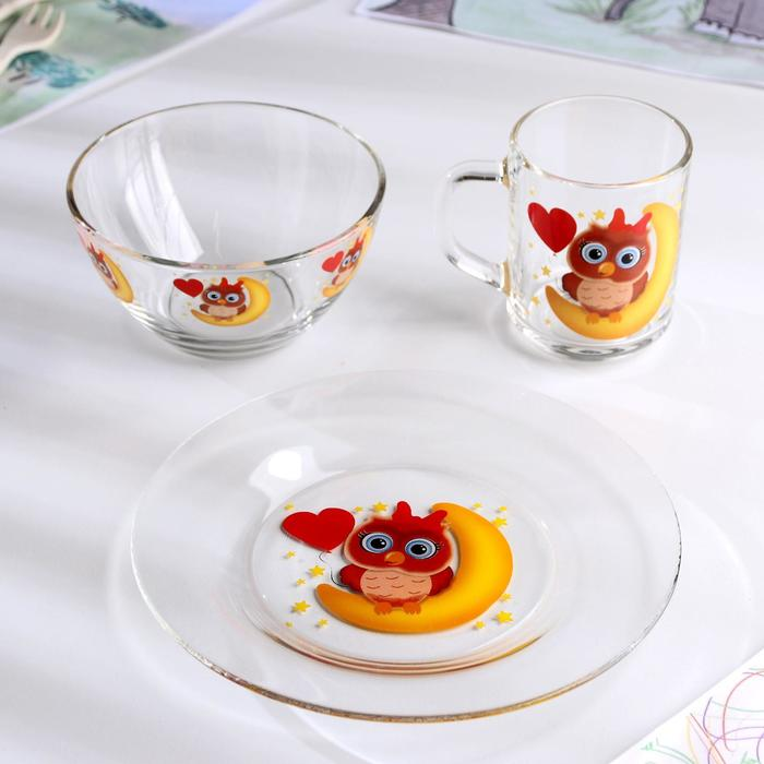 Набор для завтрака «Совушка», 3 предмета: тарелка 20 см, миска 450 мл, кружка 200 мл - фото 497654