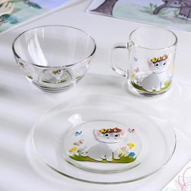 Набор для завтрака Cat, 3 предмета: тарелка 20 см, миска 450 мл, кружка 200 мл