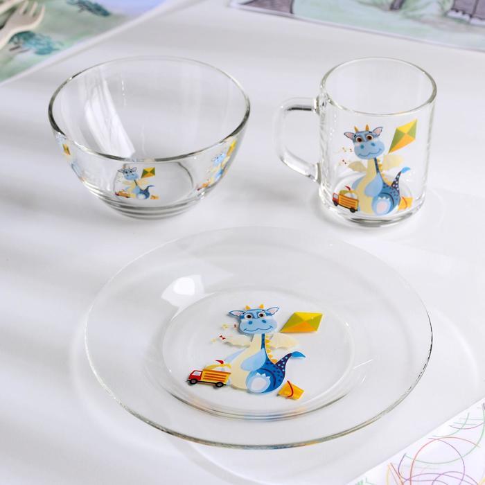 Набор для завтрака Dino, 3 предмета: тарелка 20 см, миска 450 мл, кружка 200 мл - фото 497663