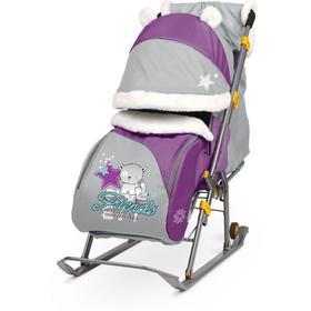 Санки- коляска «Ника детям 6» с котенком, цвет баклажановый/серый