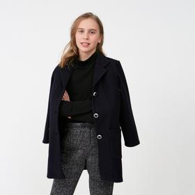 Пальто для девочки, цвет синий, рост 140 см