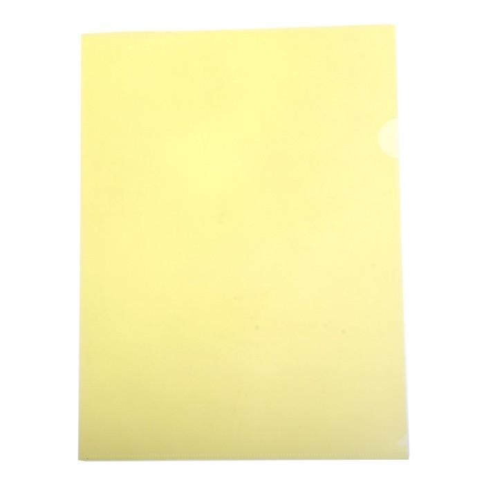 Папка-уголок A4, 180 мкм прозрачная, глянцевая, плотная, желтая