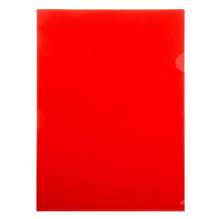 Папка-уголок A4, 180 мкм непрозрачная, глянцевая, плотная, красная