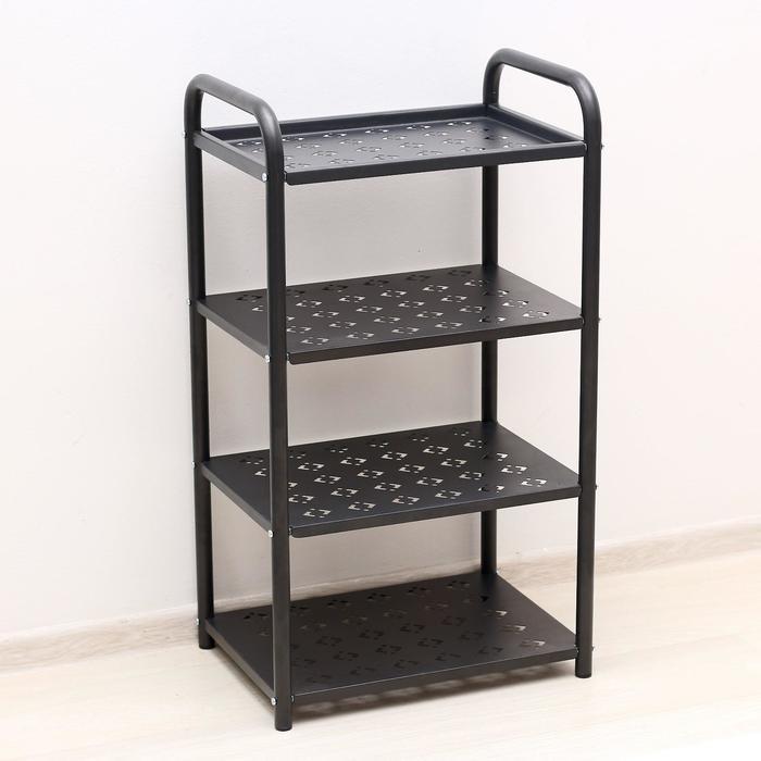 Этажерка «Принт», 4 яруса, 44×32×78 см, цвет чёрный
