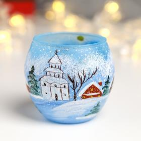"Candle holder ""New year landscape"" blue"