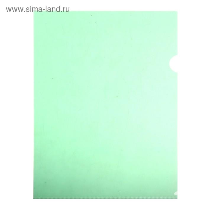Папка-уголок A4, 150мкм прозрачная, зеленая