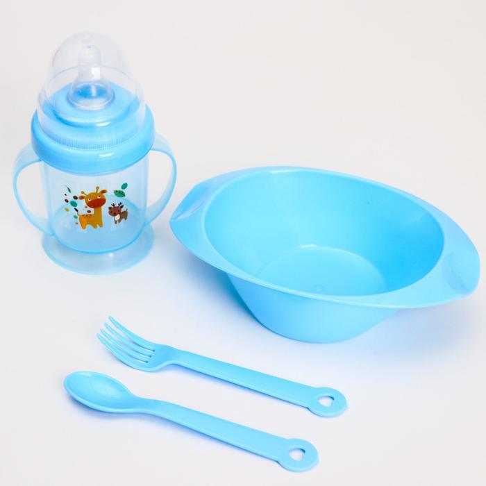 Набор для кормления: миска, бутылочка, вилка, ложка, цвет МИКС - фото 497838