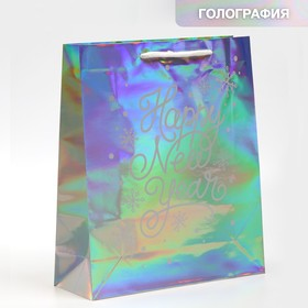 Holographic vertical package Happy New year, M 26 x 30 × 9 cm