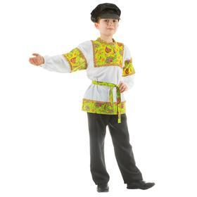Русский костюм «Сказочные цветы», рубашка, штаны, фуражка, р. 36, рост 134-140 см, цвет зелёный
