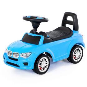 Каталка-автомобиль SuperCar №5 со звуковым сигналом, цвет голубой