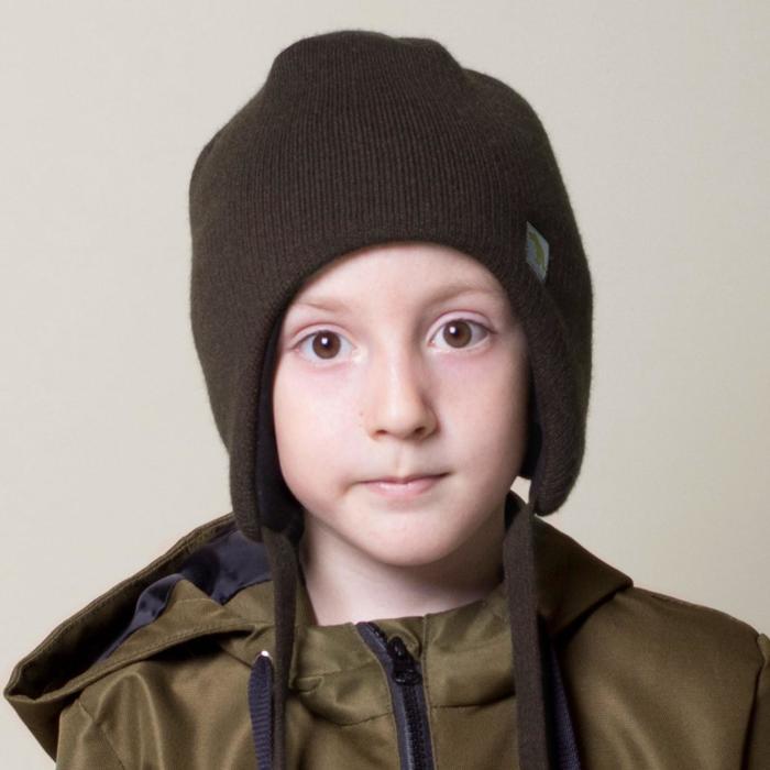 Шапка детская, цвет коричневый, размер 46-50 - фото 76608540