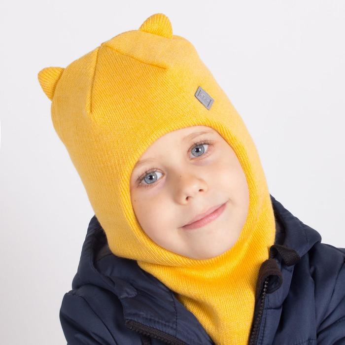 Шапка-шлем, цвет горчица, размер 46-50 - фото 76608589