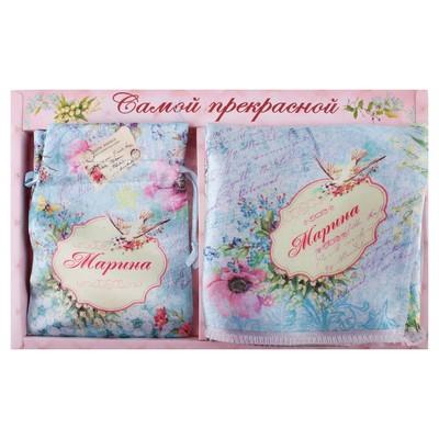 """Подарочный именной набор """"Марина"""" (зеркало, платок)"""