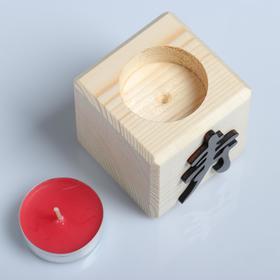 """Свеча в деревянном подсвечнике """"Куб, Иероглифы. Долголетие"""", аромат вишни - фото 4674974"""