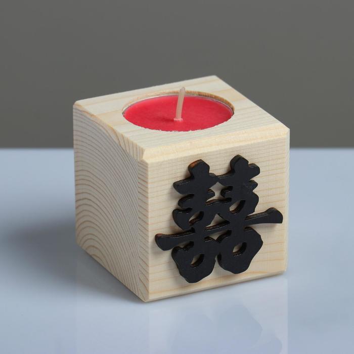 """Свеча в деревянном подсвечнике """"Куб, Иероглифы. Счастье"""", аромат вишни - фото 853316"""