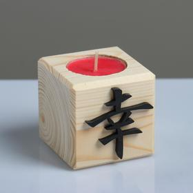 """Свеча в деревянном подсвечнике """"Куб, Иероглифы. Удача"""", аромат вишни"""