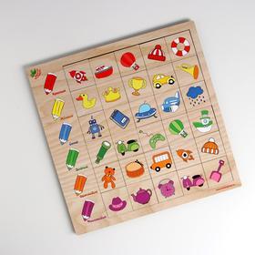 Развивающая игра «Ассоциации», 30 элементов, дерево, 28.5×28.5 см, МИКС