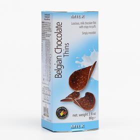 Шоколадные чипсы Belgian Chocolate Thins Milk, 80 г