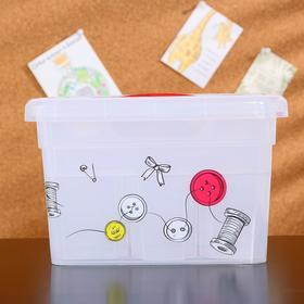 Контейнер-органайзер с крышкой FunBox «Хобби Handmade», 5 л, 25×20×16 см, 6 вставок S + лоток S, цвет прозрачный