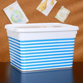 Контейнер для хранения с крышкой «Deco. Полоска», 5 л, 24,6×19,6×15,4 см, цвет белый