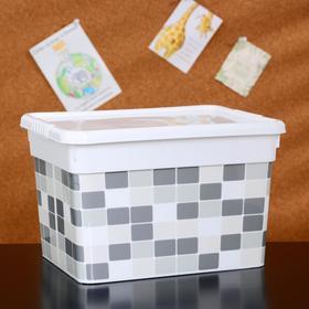 Контейнер для хранения с крышкой FunBox «Deco. Плитка», 5 л, 24,6×19,6×15,4 см, цвет белый