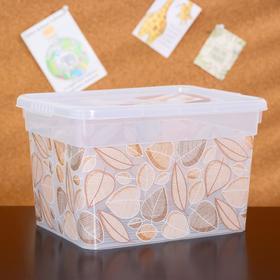 Контейнер для хранения с крышкой «Deco. Листья», 5 л, 24,6×19,6×15,4 см, цвет прозрачный