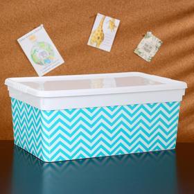 Контейнер для хранения с крышкой «Deco. Ёлочка», 10 л, 36,9×24,7×15,4 см, цвет белый