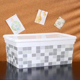 Контейнер для хранения с крышкой «Deco. Плитка», 10 л, 36,9×24,7×15,4 см, цвет белый